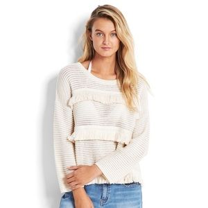NWT SEAFOLLY Island Vibe Fringed Knit Ivory Top